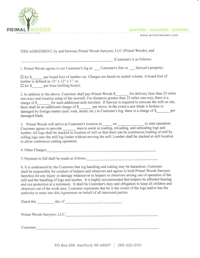 Primal Woods Sawyers Sawmill Service Contract Form