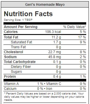 nutrition facts geri's homemade mayo